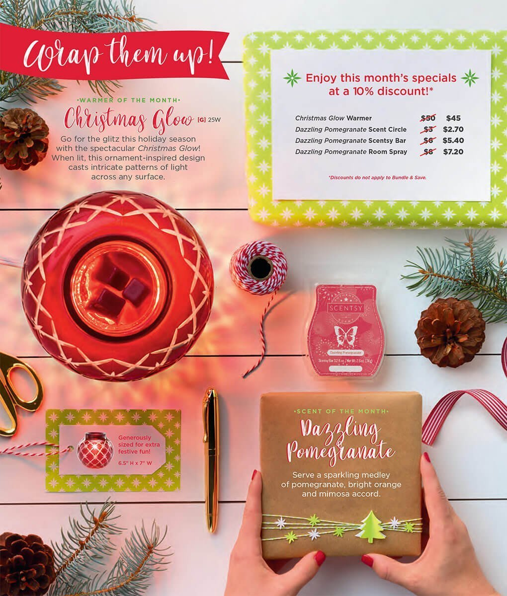Christmas Glow & Dazzling Pomegranate, Scentsy Warmer and Scent of the Month November 2017