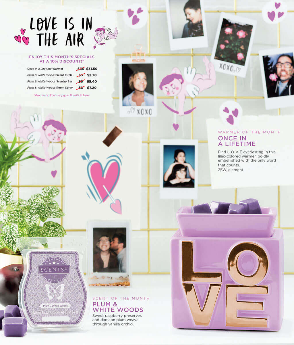 Once In A Lifetime And Plum White Woods Scentsy S February 2018 Warmer Scent Of The Month Scents By Berni