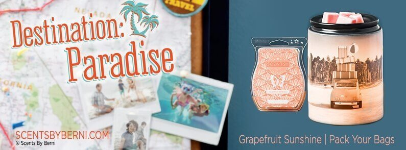 Pack Your Bags & Grapefruit Sunshine, Scentsy Scent and Warmer of the Month May 2018