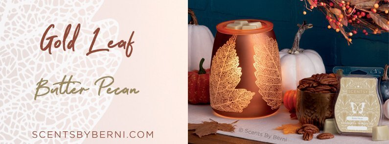Gold Leaf and Butter Pecan, October 2018 Scentsy Scent and Warmer of the Month