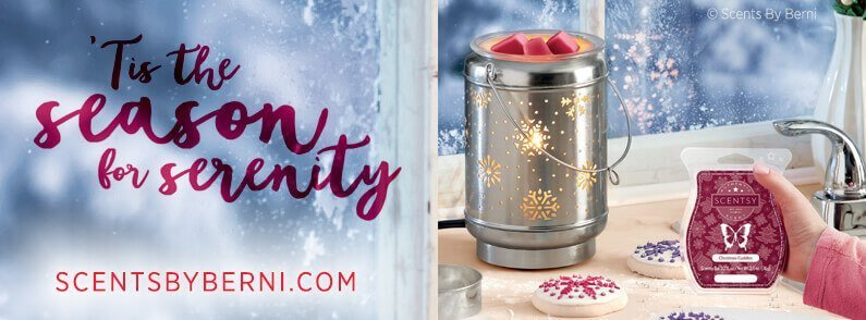 Solitude and Christmas Cuddles, December 2018 Scentsy Scent and Warmer of the Month