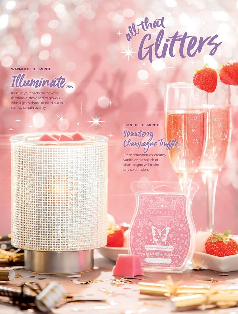 Illuminate & Strawberry Champagne Truffle, Scentsy Warmer and Scent of the Month January 2019