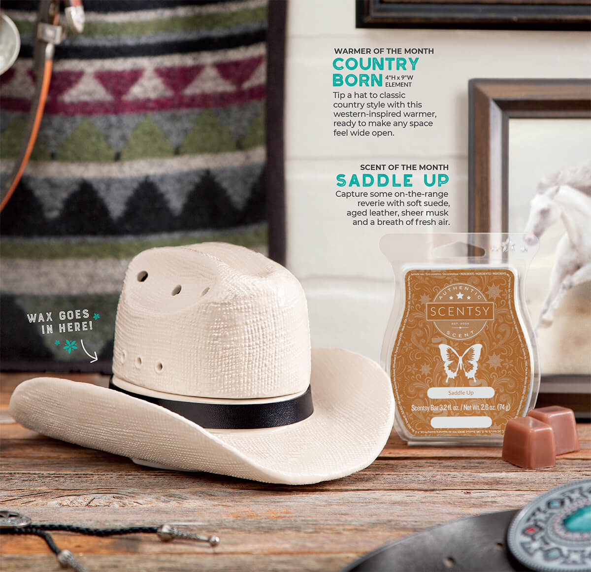 Country Born & Saddle Up, Scentsy Warmer and Scent of the Month May 2019