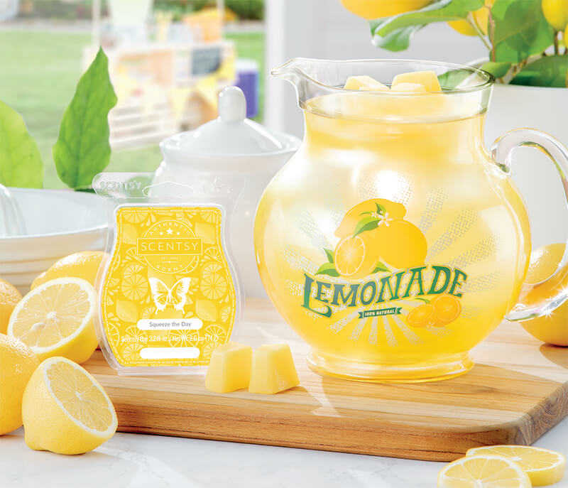 Lemonade Pitcher & Squeeze the Day, Scentsy Warmer and Scent of the Month June 2019