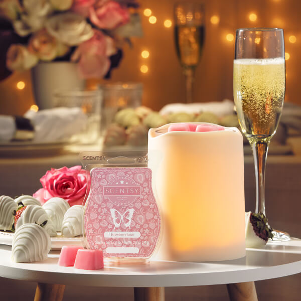By the Candlelight & Strawberry Rose, Scentsy Warmer and Scent of the Month February 2020