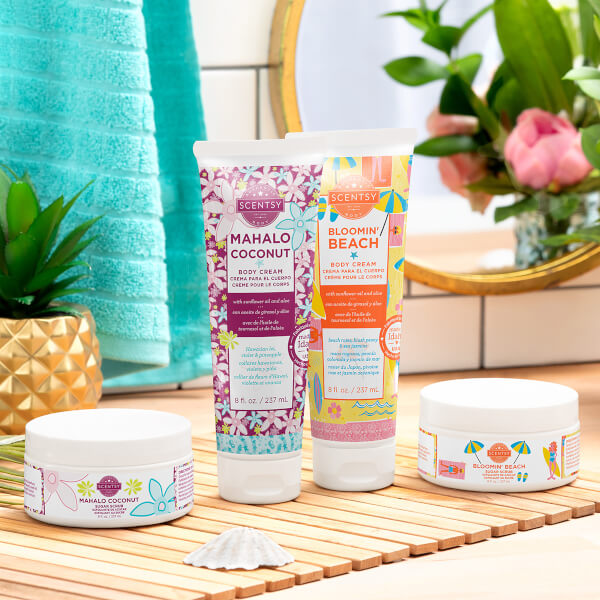 Bloomin' Beach and Mahalo Coconut Body Creams and Sugar Scrubs